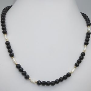 Jewelry - 14K Black Onyx and Freshwater Pearl Necklace